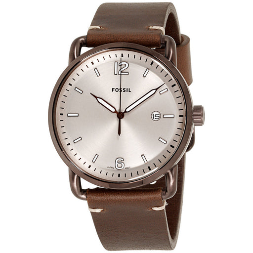 a5f66fea6 Fossil The Commuter Cream Dial Brown Leather Strap Men's Watch