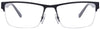 JJ Black Grey Rectangle Eyeglasses - 100639