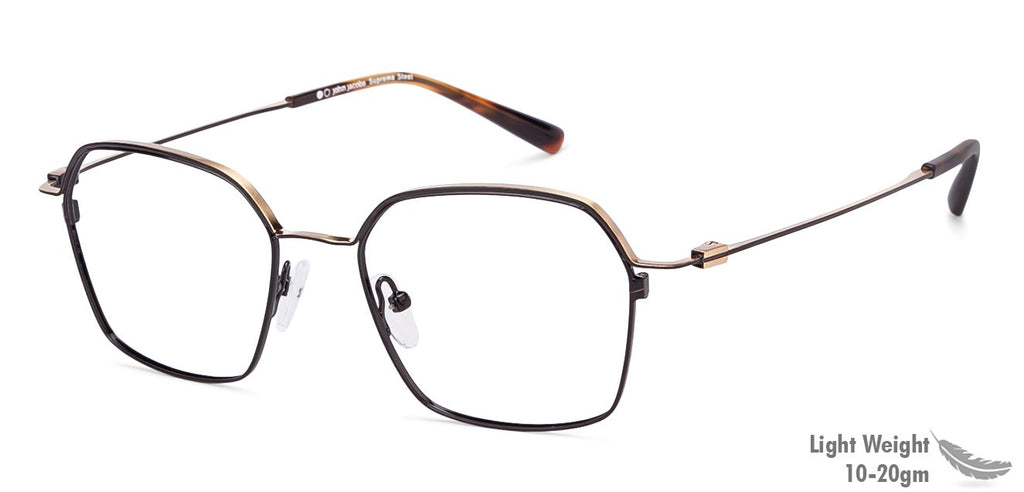 Eyeglasses For Men-Hexagon-Black-EG