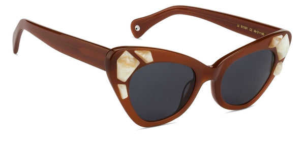 Lenskart Brown White Cat Eye Sunglasses - 127088