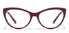 VC Maroon Transparent Cat Eye Eyeglasses - 116410