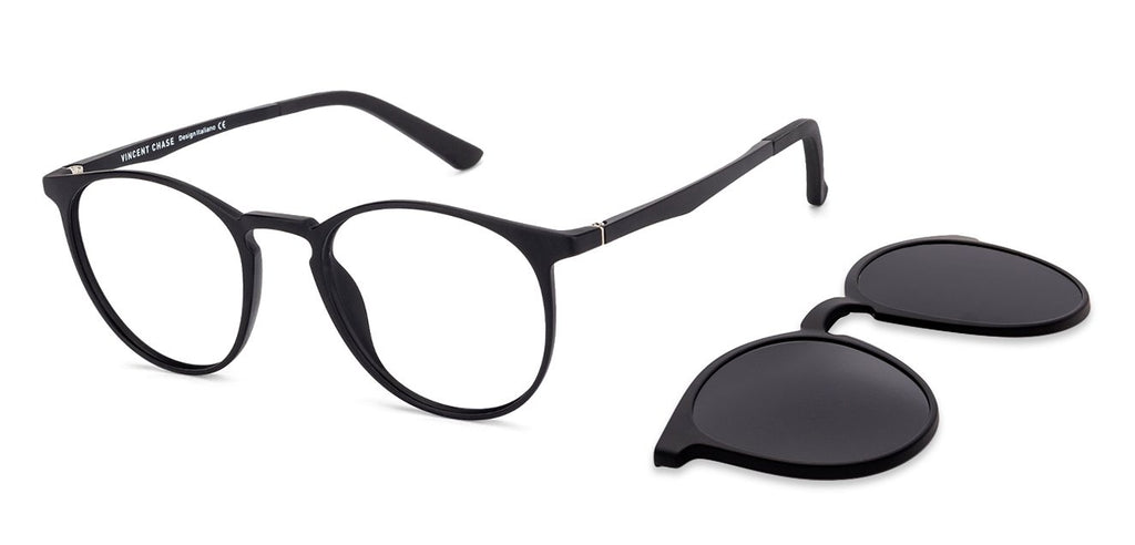 Blue Light Blocking Eyeglasses-Round-Black-EG