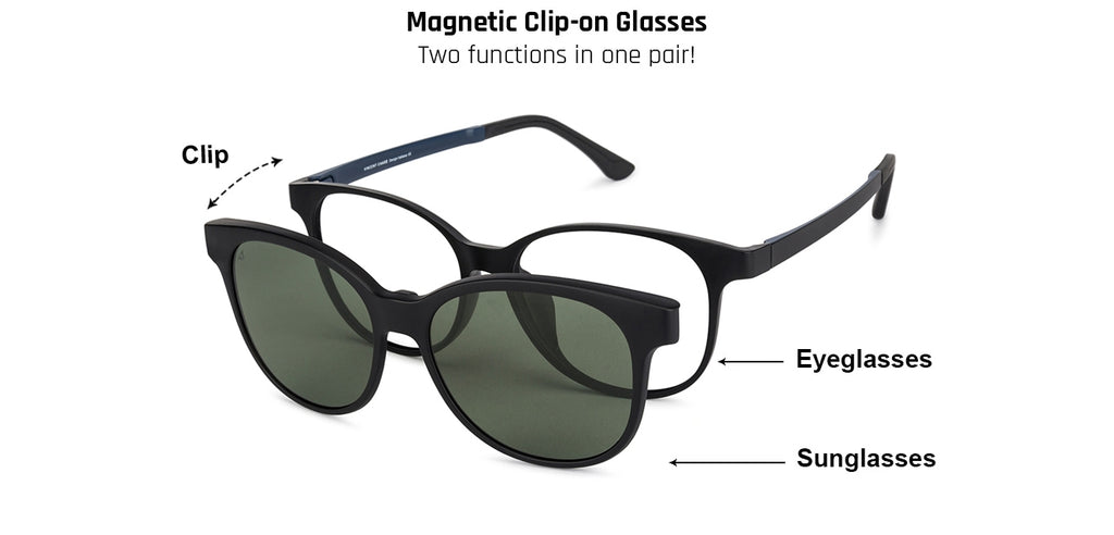 Magnetic Clip On Glasses-Round-Green-EG
