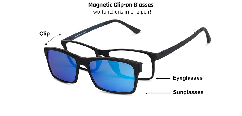 Magnetic Clip On Glasses-Rectangle-Blue-EG