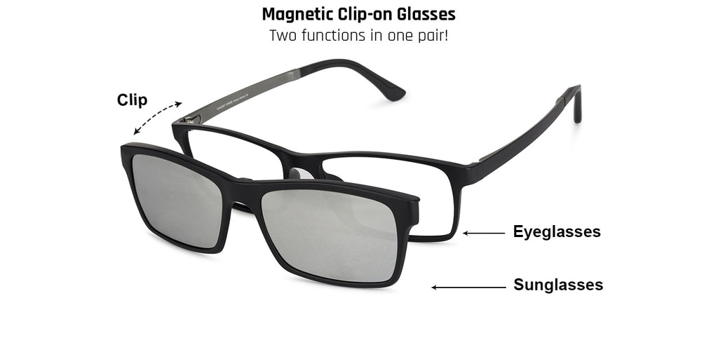 Magnetic Clip On Glasses-Rectangle-Silver-EG