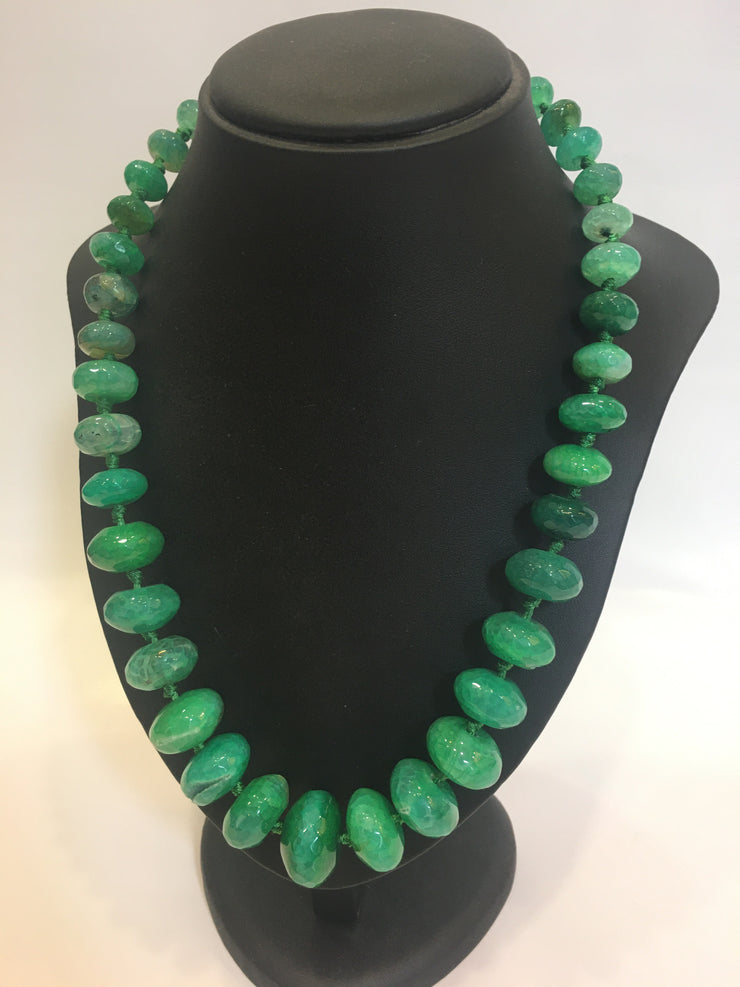 Necklace Green Faceted Agate