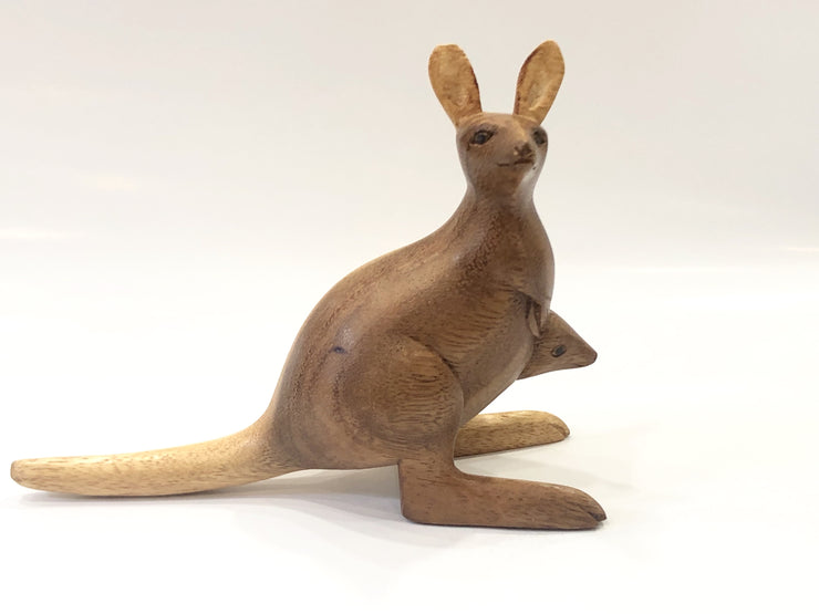 hand carved Wood Kangaroo sculpture