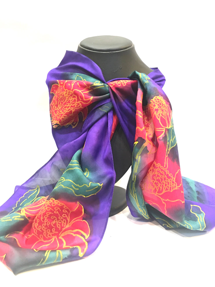 Silk scarf purple Waratah