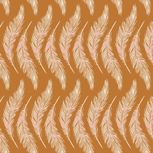 Art Gallery Fabric - Homebody - Presently Plumes Gold by Maureen Cracknell