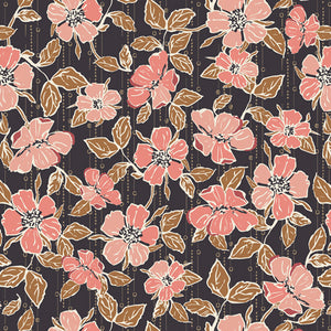 Art Gallery Fabric - Homebody - Crafted Blooms Cacao by Maureen Cracknell