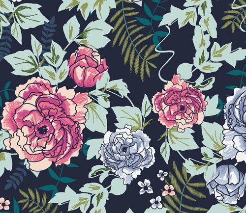 Art Gallery Fabric- Trouvaille - Everblooming Camellias Dim