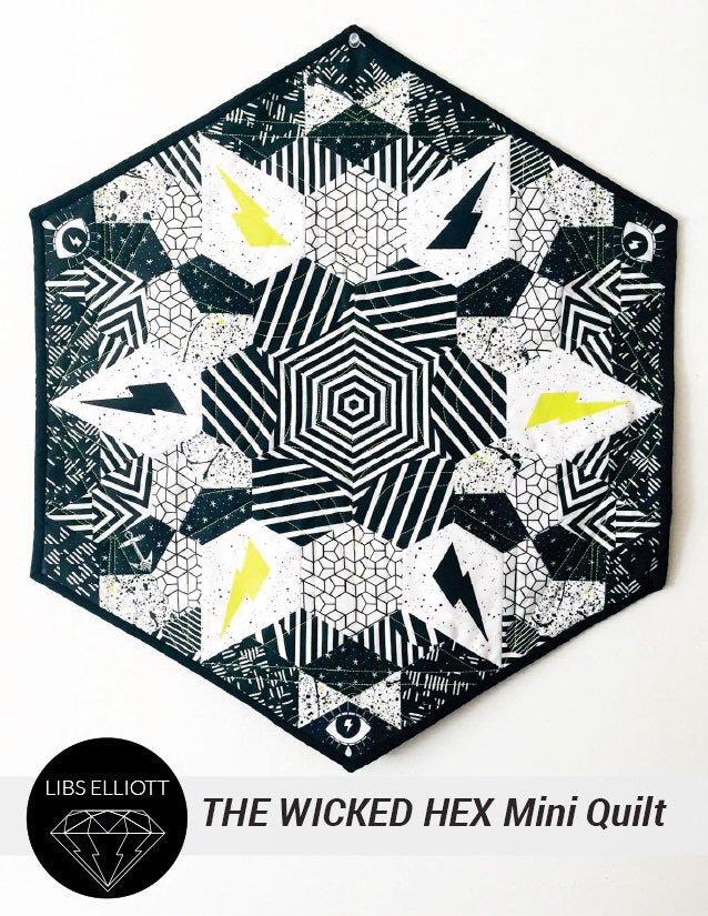 Paper Pieces - Wicked Hex EPP Mini Quilt Kit: Complete Pattern and Paper Piece Pack by Libs Elliott