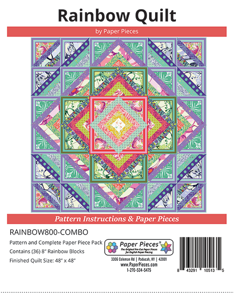 Paper Pieces - Rainbow Quilt Complete Pattern and Paper Piece Pack