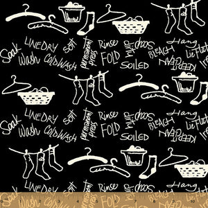 DIRTY LAUNDRY by Chris Pashcke for Windham Fabrics - Large Black Print
