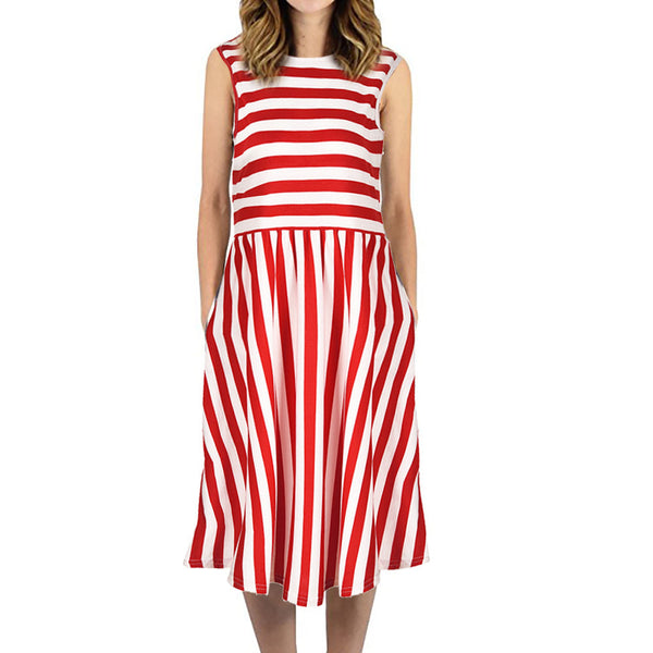 Womens Dress Striped  Sleeveless Casual Summer Beach Dresses with Pockets Dress