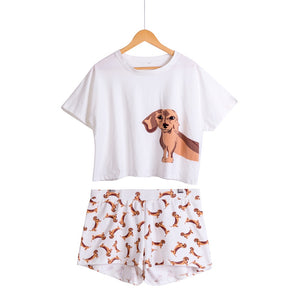 Cute Women Pajamas Nightwear Dachshund Print Dog