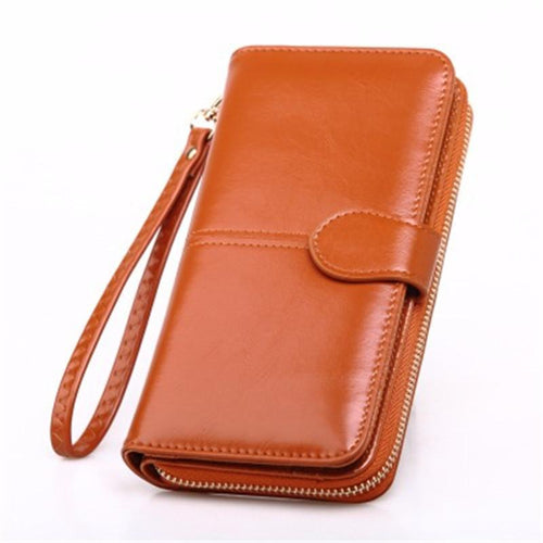 Oil Wax Leather Wallet Coin Holder Mobile Phone Bag Long Hand Bag Retro Card Package