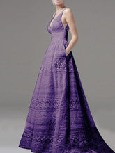 Load image into Gallery viewer, Deep V-Neck Hollow Out Plain Lace Wedding Evening Dress