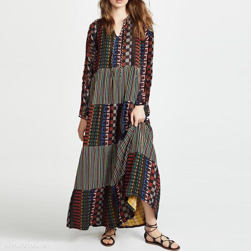 Fashion Loose V Collar Floral Printed Maxi Dress