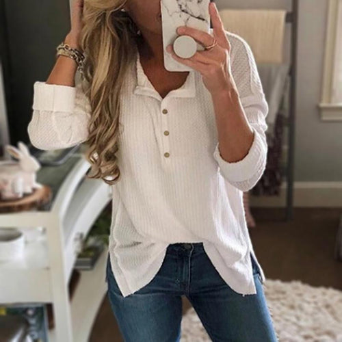 Casual Long Sleeve Stand Collar Button Split T-Shirt
