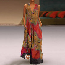 Load image into Gallery viewer, Bohemian V Neck Printed Colour Sleeveless Dress