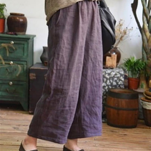 Leisure Simple Large Code Loose Nine-Point Broad Leg Pants