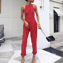 Load image into Gallery viewer, Modern Sleeveless Bare Back Off-Shoulder Pure Colour Jumpsuit