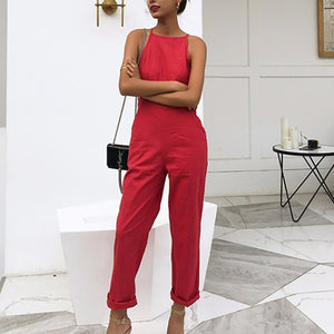 Modern Sleeveless Bare Back Off-Shoulder Pure Colour Jumpsuit