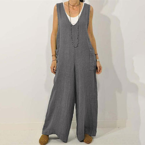 V-Neck Cotton Strap Jumpsuit