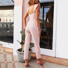 Load image into Gallery viewer, Solid Color Auricular-Trimmed Jumpsuit
