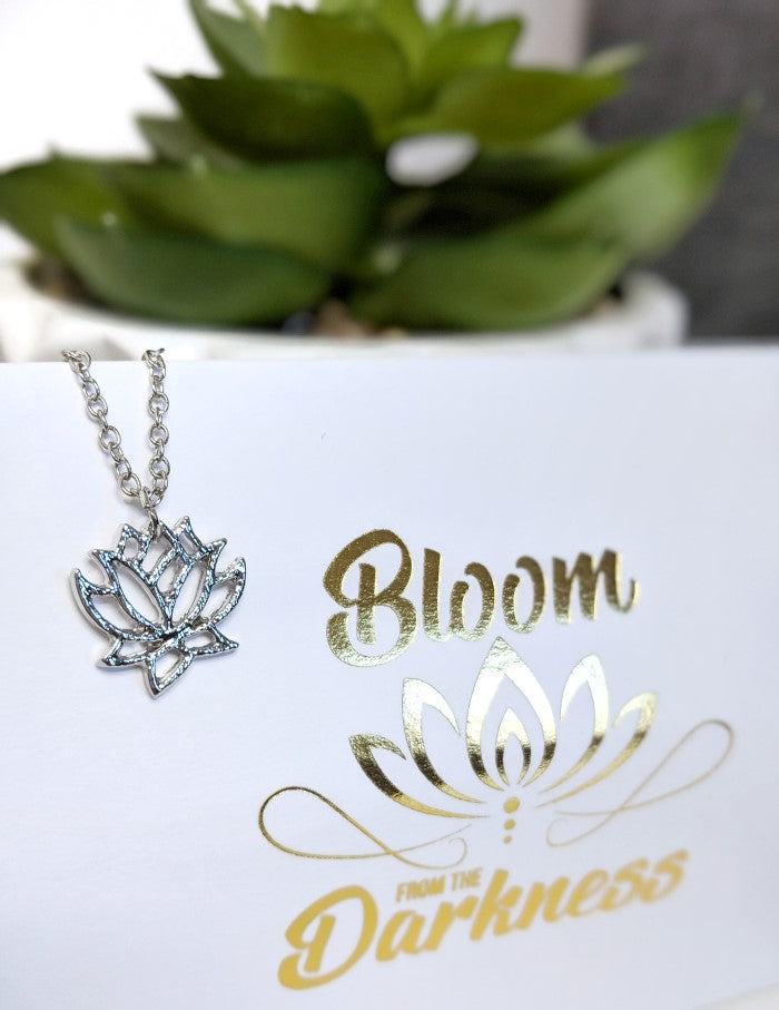 Silver Lotus Flower Necklace Bloom From The Darkness