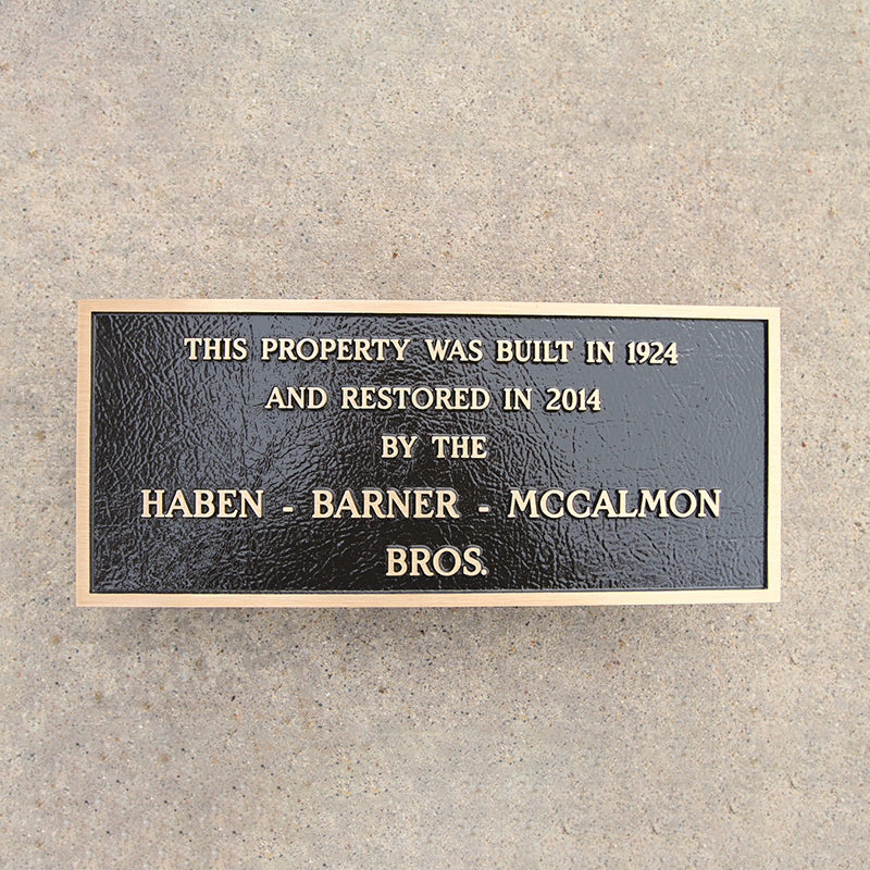 Cast Bronze Building Plaque