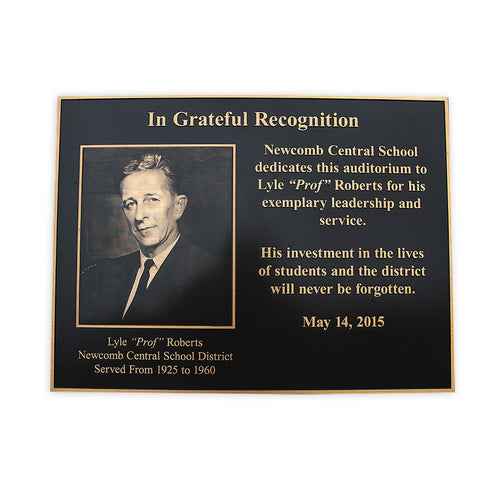 Cast Bronze Plaque with Etched Photo