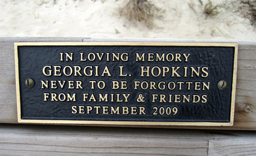 Cast Bronze Park Bench Plaque