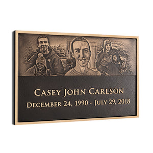 Cast Bronze Plaque with Photo Relief