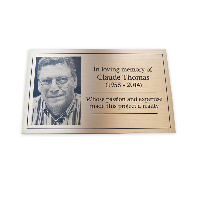 Etched Bronze Plaque with Etched Photo