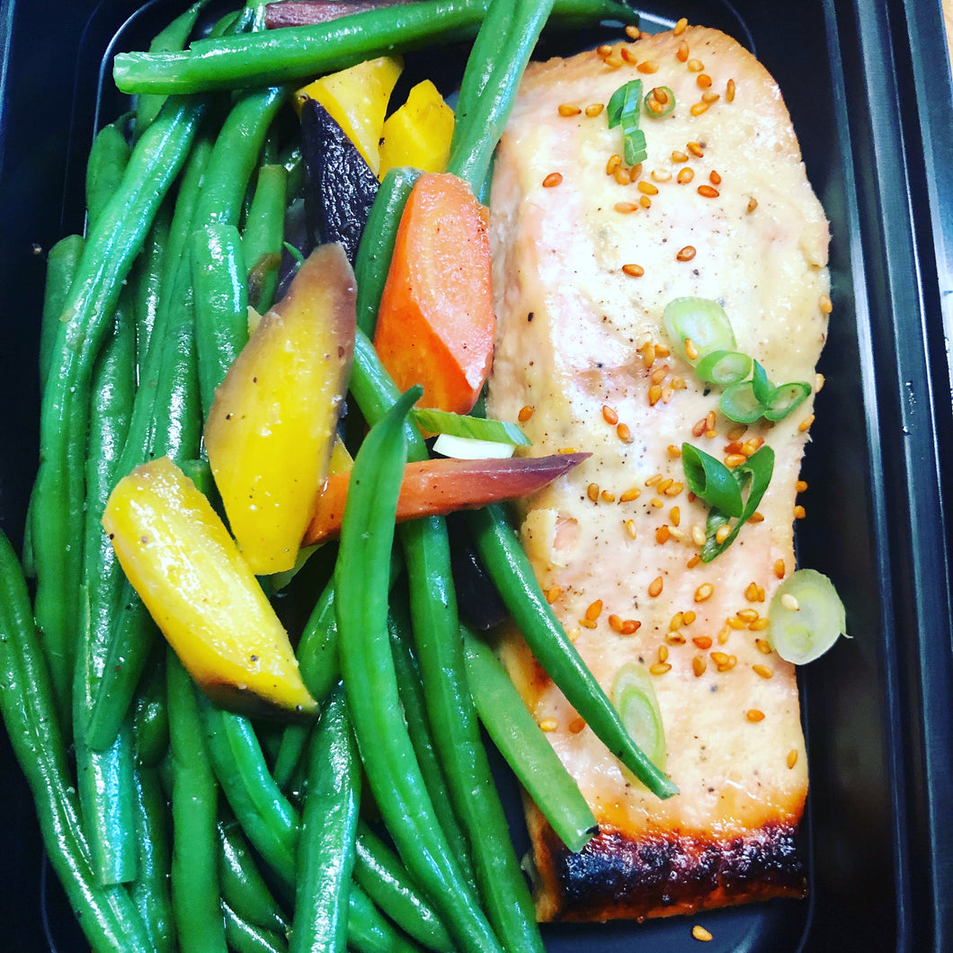 24 Hour Miso & Citrus Marinated Salmon with Veggies