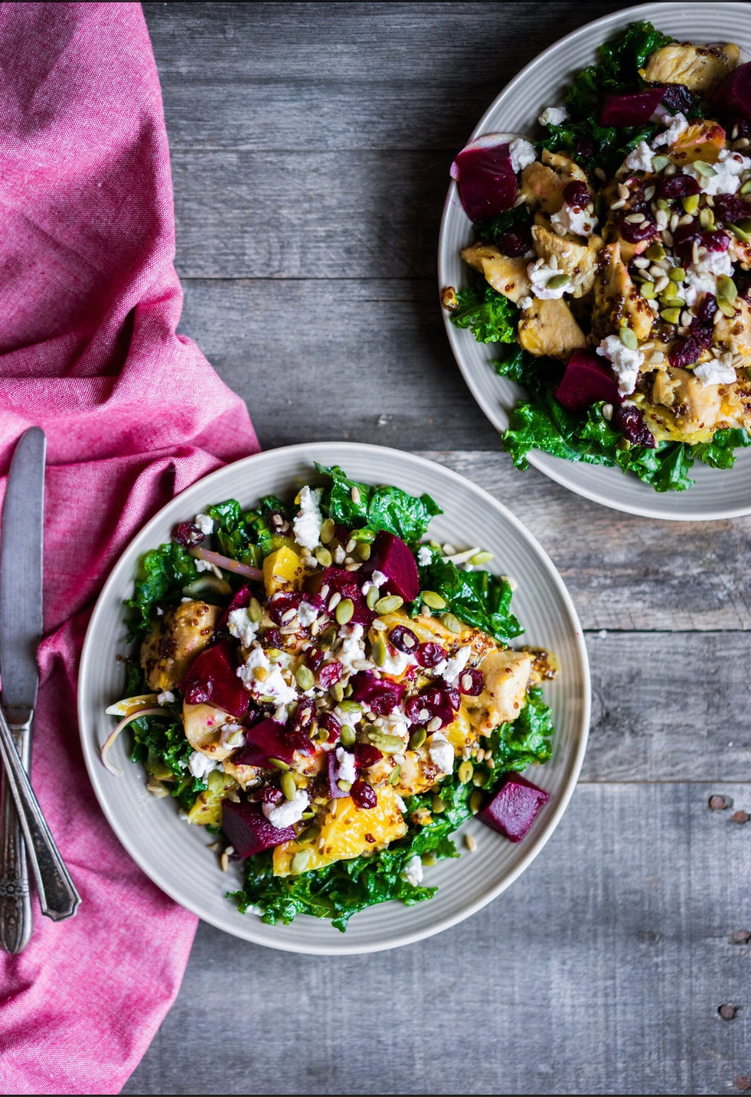 hiitide roasted beets & spinach salad