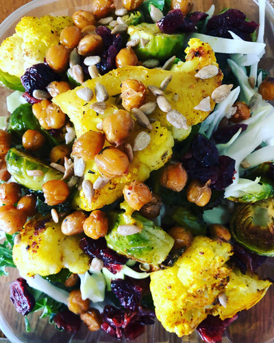 Roasted cauliflower, Brussels sprouts and kale salad