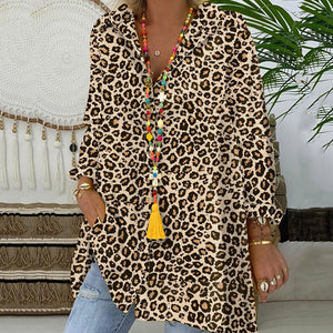 Casual Loose Long SleeveLeopard Print Shirt
