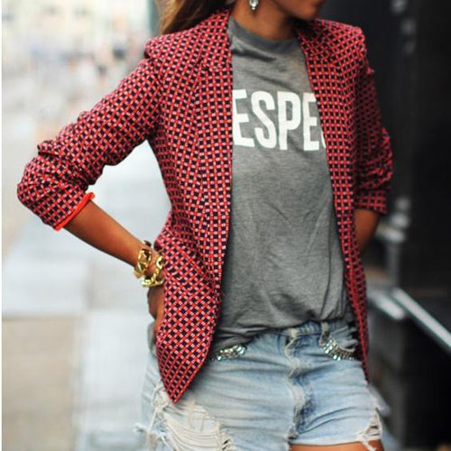 Fashion Casual Women's Red Plaid Long-Sleeved Lapel Blazer Outwears