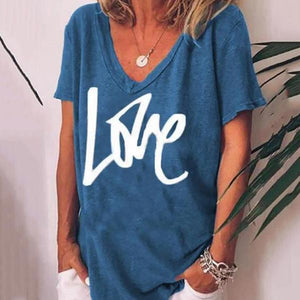 Casual V-Neck Short-Sleeve Letter-Print Loose T-Shirt