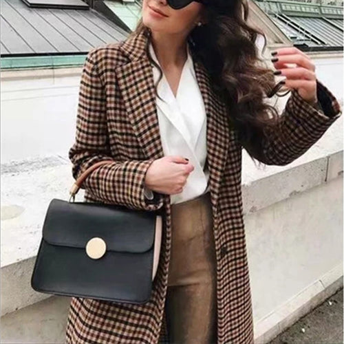 Fashion Plaid Lapel Double-breasted Blazer