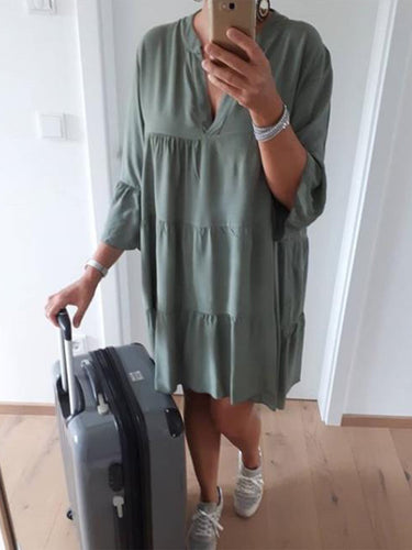 V Neck Casual 3/4 Sleeve Solid Dresses