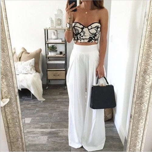 Fashionable Loose Solid Color Wide-Leg Pants