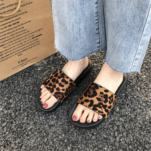 Leopard casual flat slippers