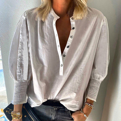 Fashion Round Neck Breasted Lantern Sleeve Shirt