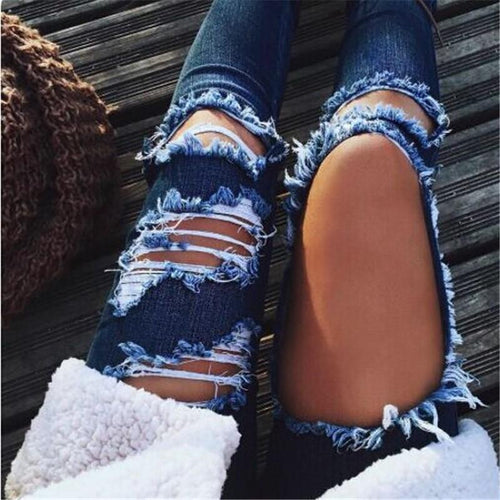 Ripped Scratched Slim Jeans