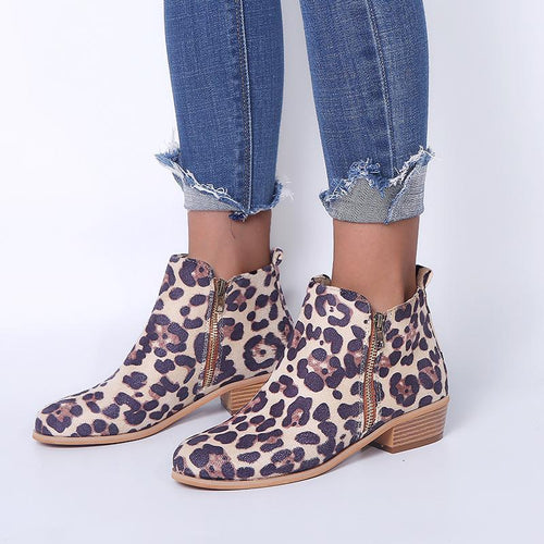Large Size Women Leopard Side Zipper Round Toe Ankle Boots