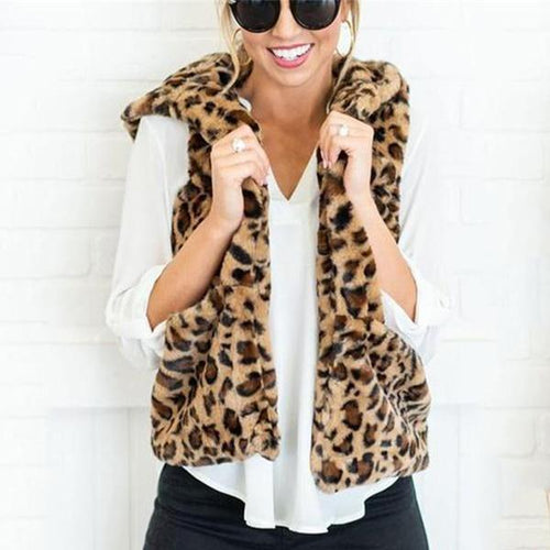 Casual Leopard Print  Armless Cashmere Hooded Vest Coat